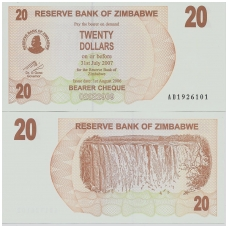 ZIMBABVĖ 20 DOLLARS 2006 P # 40 UNC