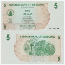 ZIMBABVĖ 5 DOLLARS 2006 P # 38 UNC
