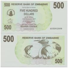ZIMBABVĖ 500 DOLLARS 2006 P # 43 UNC
